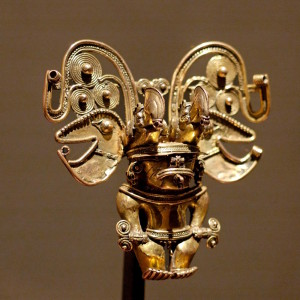 Gold artifact of the Tairona people, Caribbean coast of Colombia